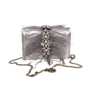 silver crystal embellished feathered purse