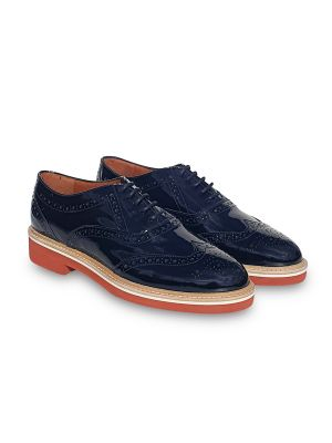 black patent leather Oxford/brogues shoes