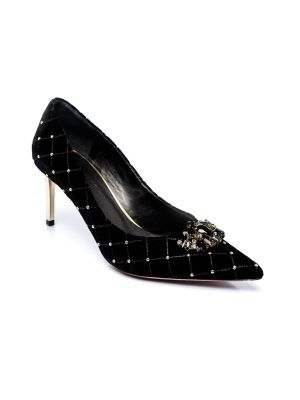 Florence gold heel suede shoes