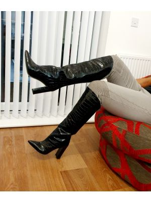 Serena leather crocco boots