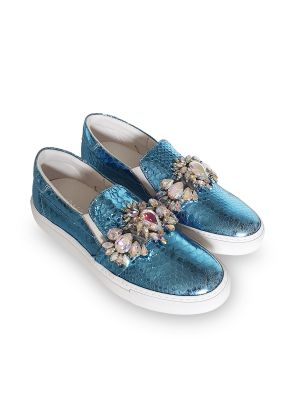 python blue leather sneakers with accessories