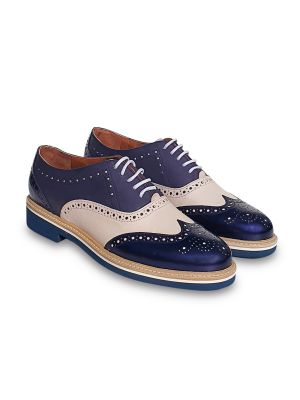 blue leather oxfords/brogues flat shoes