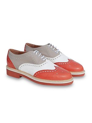 orange leather brogues/oxfords flat shoes