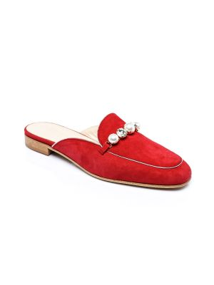red suede open back loafer