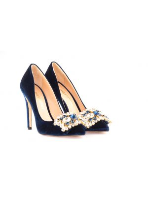 embellished PF blue velvet pumps